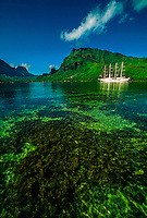 Windstar sailing ship in Cook's Bay, Moorea, French Polynesia