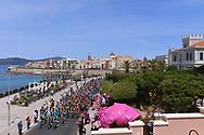 Illustration, Start, Team ASTANA (KAZ) lines up at the start in memory of Michele SCARPONI (ITA), Landscape, Peloton, Alghero City, Pink, Sea, during the 100th Tour of Italy 2017, Giro d'Italia, Stage 1, Alghero - Olbia (206km), on May 5, in Sardegna, Italy - Photo Tim De Waele / ProSportsImages / DPPI