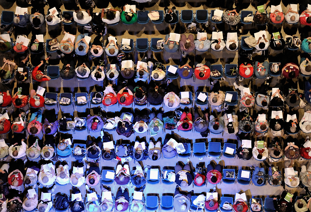 An aerial view of a section of participants in the 2010 Assembly of United Methodist Women in St. Louis, Missouri. Photo by Paul Jeffrey/Response.