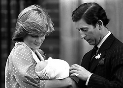 Library filer dated 22.6.82, of the Prince and Princess of Wales showing off their son, Prince William, to the media for the first time. It was reported today (Sunday) that the princess has been killed in a car crash in Paris. Photo by Tim Ockenden/PA. **Available b/w only** Reissued again 19/06/98 for Prince William's 16th birthday on 21/06/98.