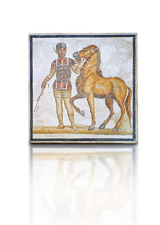 Roman geometric floor mosaic depicting horsemen and their horses from the Circus  from  a room of a villa  in the locality Baccano near the Via Cassia, Rome. Beginning of the 3rd century AD. National Roman Museum, Rome, Italy .<br /> <br /> If you prefer to buy from our ALAMY PHOTO LIBRARY  Collection visit : https://www.alamy.com/portfolio/paul-williams-funkystock/national-roman-museum-rome-mosaic.html <br /> <br /> Visit our ROMAN ART & HISTORIC SITES PHOTO COLLECTIONS for more photos to download or buy as wall art prints https://funkystock.photoshelter.com/gallery-collection/The-Romans-Art-Artefacts-Antiquities-Historic-Sites-Pictures-Images/C0000r2uLJJo9_s0
