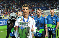 KIEV, UKRAINE - MAY 26: Cristiano Ronaldo of Real Madrid with a trophy after the UEFA Champions League final between Real Madrid and Liverpool at NSC Olimpiyskiy Stadium on May 26, 2018 in Kiev, Ukraine. (MB Media)