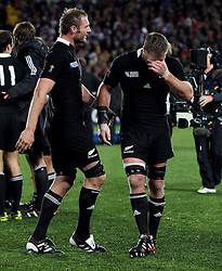 © Andrew Fosker / Seconds Left Images 2011 - Brad Thorn ( R)  is overcome with emotion at the final whistle - Ali Williams is on hand (L) - France v New Zealand All Blacks - Rugby World Cup 2011 - Final - Eden Park - Auckland - New Zealand - 23/10/2011 -  All rights reserved..