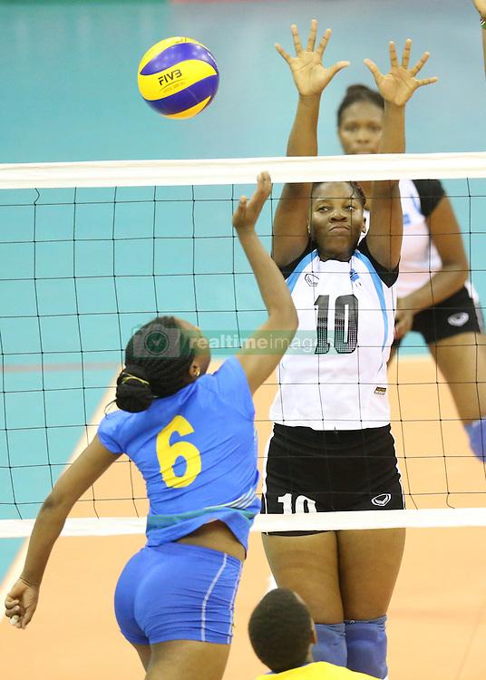Grace Liyigena (L) of Rwanda in action against Nkobedi Moitlamo of Botswana during their U23 Africa Nations Championship at Safaricom Stadium Stadium in Nairobi on October 26, 2016. Rwanda won 3-0. Photo/Fredrick Onyango/www.pic-centre.com (KEN)