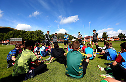 Chris Pennell, Bryce Heem, Ben Howard of Worcester Warriors host a Q&A session as Worcester Warriors host a summer holiday rugby camp at Malvern College - Mandatory by-line: Robbie Stephenson/JMP - 16/08/2017 - RUGBY - Malvern College - Worcester, England - Worcester Warriors - Malvern Rugby Camp