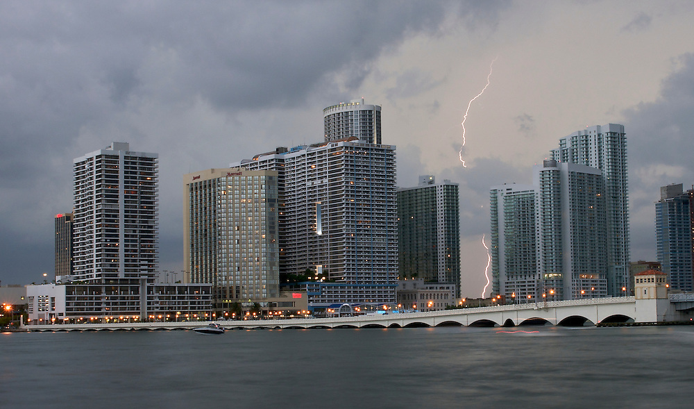Summer thunderstorm over Biscayne Bay in Miami, Florida, USA
