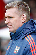 Brentford Manager Dean Smith looks on before kick off . Skybet football league championship match, Brentford  v Derby county at Griffin Park in London on Saturday 20th February 2016.<br /> pic by Steffan Bowen, Andrew Orchard sports photography.