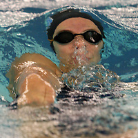 Frewsburg's Rachel Moller competes in the backstroke leg of 200 yard medley relay during girls swimming against Panama 9-27-12 photo by Mark L. Anderson