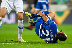 Georgios Vasiliou of Cyprus in pain after tackle by Josip Ilicic of Slovenia during football match between National Teams of Slovenia and Cyprus in Final Tournament of UEFA Nations League 2019, on October 16, 2018 in SRC Stozice, Ljubljana, Slovenia. Photo by  Morgan Kristan / Sportida