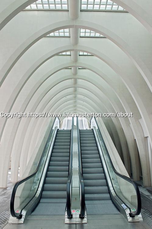 Escalators inside new Liège-Guillemins modern railway station designed by architect Santiago Calatrava  in Liege Belgium