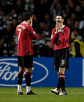 Photo: Jed Wee.<br /> Glasgow Celtic v Manchester United. UEFA Champions League, Group F. 21/11/2006.<br /> <br /> Manchester United's Ryan Giggs (R) rues a missed chance.