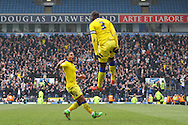 Souleymane Bamba of Leeds United (3) celebrates with his teammates after scoring his teams 1st goal. Skybet football league Championship match, Blackburn Rovers v Leeds United at Ewood Park in Blackburn, Lancs on Saturday 12th March 2016.<br /> pic by Chris Stading, Andrew Orchard sports photography.