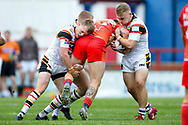 Bradford Bulls half half Cory Aston (41) and Bradford Bulls second row Evan Hodgson (35) get stuck into the tackle  during the Kingstone Press Championship match between Sheffield Eagles and Bradford Bulls at, The Beaumont Legal Stadium, Wakefield, United Kingdom on 3 September 2017. Photo by Simon Davies.