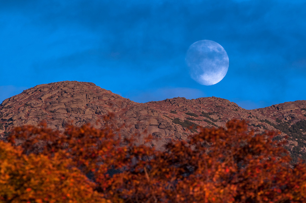 Detail of Mt Lafayette summit, with waxing Gibbous moonrise, White Mountain National Forest, Franconia Notch State Park, Franconia, NH