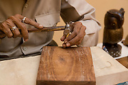 India, Rajasthan, Jaipur, Amber fort built 1592 An Engraver at work