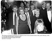 The Princess of Wales escorted by Liz Tilberis at the C.F.D.A. Lincoln Center. New York. February 1995.<br />© Copyright Photograph by Dafydd Jones<br />66 Stockwell Park Rd. London SW9 0DA<br />Tel 0171 733 0108