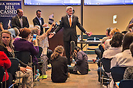 Republican Sen. Bill  Cassidy town hall speaks over proteters in Metairie, LA at the Eastbank Regional Library Feb. 22, 2017.
