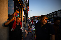 © Licensed to London News Pictures. 20/07/2021. Manchester, UK. Muslims celebrate Eid al-Adha in Rusholme in Manchester. The festival marks the Islamic tale of the prophet Ibrahim , who offered his son as a sacrifice to Allah . Photo credit: Joel Goodman/LNP
