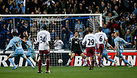 Photo: Steve Bond.<br /> Coventry City v West Ham United. Carling Cup. 30/10/2007. Jay Tabb (secon left) wheels away after heading Coventry in front
