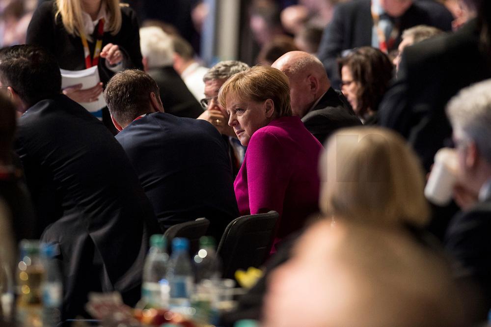26 FEB 2018, BERLIN/GERMANY:<br /> Angela Merkel, CDU, Bundeskanzlerin, in den Reihen der Delegierten aus Mecklenburg-Vorpommern, CDU Bundesparteitag, Station Berlin<br /> IMAGE: 20180226-01-138<br /> KEYWORDS: Party Congress, Parteitag
