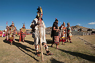 """Inty Raymi. Third act. Archaeological site of Sachsayuaman. The sages frome the our """"suyos"""" on parade."""