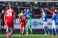 Portsmouth goalkeeper Craig MacGillivray (15) is surrounded after saving the Accrington Stanley penalty  during the EFL Sky Bet League 1 match between Accrington Stanley and Portsmouth at the Fraser Eagle Stadium, Accrington, England on 27 October 2018.