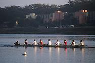 Crew row boat on Lake Merced, San Francisco, California