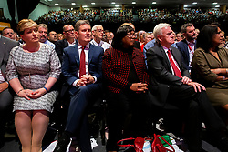 © Licensed to London News Pictures. 24/09/2019. Brighton, UK. (LtoR) Shadow Foreign Secretary Emily Thornberry, Shadow Secretary of State for Exiting the European Union Keir Starmer, Shadow Home Secretary DIANNE ABBOTT and Shadow Chancellor of the Exchequer JOHN MCDONNELL listen to Leader of the Labour Party JEREMY CORBYN speak to delegates at the 2019 Labour Party Conference in Brighton and Hove. Photo credit: Hugo Michiels/LNP