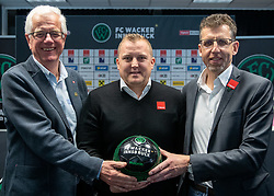 06.03.2019, Tivoli Stadion Tirol, Innsbruck, AUT, 1. FBL, FC Wacker Innsbruck, Präsentation des neuen Cheftrainers Thomas Grumser, im Bild v.l. Präsident Gerhard Stocker (Wacker Innsbruck), Trainer Thomas Grumser (Wacker Innsbruck), Alfred Hörtnagl (Wacker Innsbruck) // f.l. president Gerhard Stocker Coach Thomas Grumser (Wacker Innsbruck) Alfred Hoertnagl (Wacker Innsbruck) during the presentation of the new head coach Thomas Grumser of the tipico-Bundesliga club FC Wacker Innsbruck at the Tivoli Stadion Tirol in Innsbruck, Austria on 2019/03/06. EXPA Pictures © 2019, PhotoCredit: EXPA/ Johann Groder