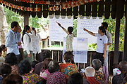 LAC lawyer Noun running a workshop in basic legal rights in Kork Chork. This is LAC's first visit to Kork Chork and they have invited local villagers to meet in what is usually only used as a temple.<br /> A team of LAC staff engage with the villagers creating an atmosphere of openess. Many of the villagers have issues they want to share and they are keen to get involved inthe workshop.Legal Aid Cambodia  tries through out-reach education in schools to prevent children from falling into crime and teach them their rights.LAC also offer legal aid to children arrested and sent to prison, many of them without any legal representation.