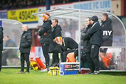 Dundee United's bench during the second half. <br /> Dundee 2 v 1  Dundee United, SPFL Ladbrokes Premiership game played 2/1/2016 at Dens Park.