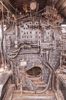 An old steam locomotive boiler