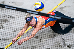 Sanne Keizer in action during the last day of the beach volleyball event King of the Court at Jaarbeursplein on September 12, 2020 in Utrecht.