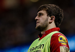 Scarlets' Dan Jones<br /> <br /> Photographer Simon King/Replay Images<br /> <br /> Guinness PRO14 Round 21 - Dragons v Scarlets - Saturday 28th April 2018 - Principality Stadium - Cardiff<br /> <br /> World Copyright © Replay Images . All rights reserved. info@replayimages.co.uk - http://replayimages.co.uk
