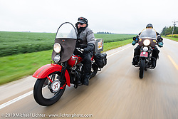 Roger Green (L) riding his 1937 Harley-Davidson ULH Flathead with fellow Michiganer Jim Gilfoyle on his Flathead in the Cross Country Chase motorcycle endurance run from Sault Sainte Marie, MI to Key West, FL (for vintage bikes from 1930-1948). Stage 3 from Milwaukee, WI to Urbana, IL. USA. Sunday, September 8, 2019. Photography ©2019 Michael Lichter.
