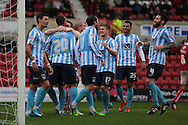 Coventry City striker Marcus Tudgay celebrates his goal with team mates during the Sky Bet League 1 match between Swindon Town and Coventry City at the County Ground, Swindon, England on 24 October 2015. Photo by Jemma Phillips.