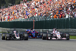 August 27, 2017 - Spa, Belgium - 08 GROSJEAN Romain from France of Haas F1 team, 11 PEREZ Sergio from Mexico of Force India and 26 KVYAT Daniil from Russia of team Toro Rosso fighting during the Formula One Belgian Grand Prix at Circuit de Spa-Francorchamps on August 27, 2017 in Spa, Belgium. (Credit Image: © Xavier Bonilla/NurPhoto via ZUMA Press)
