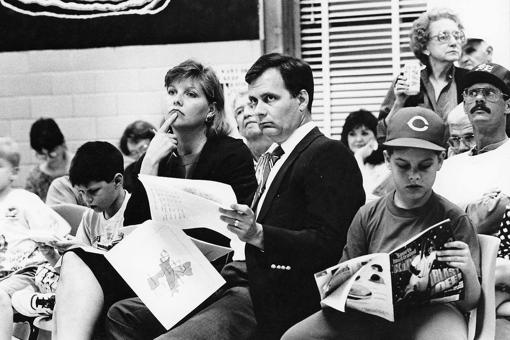 ©1991  Public hearings on school closings, Austin ISD school board.