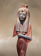 Ancient Egyptian voitive statue of Nefratari, New Kingdom, 19th -20th Dynasty, (1292-1076 BC, Deir el-Medina. Egyptian Museum, Turin. Cat 1349. <br /> <br /> Queen Ahmose Neferatari, wife and mother of Amenhoptec I show the great devotion she was held in by ancient Egyptians. The inscription on the base name the dedicators of the statue .<br /> <br /> If you prefer to buy from our ALAMY PHOTO LIBRARY  Collection visit : https://www.alamy.com/portfolio/paul-williams-funkystock/ancient-egyptian-art-artefacts.html  . Type -   Turin   - into the LOWER SEARCH WITHIN GALLERY box. Refine search by adding background colour, subject etc<br /> <br /> Visit our ANCIENT WORLD PHOTO COLLECTIONS for more photos to download or buy as wall art prints https://funkystock.photoshelter.com/gallery-collection/Ancient-World-Art-Antiquities-Historic-Sites-Pictures-Images-of/C00006u26yqSkDOM