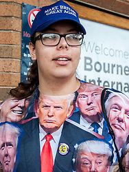 September 17, 2016 - London, England, United Kingdom - Image ©Licensed to i-Images Picture Agency. 17/09/2016. London, United Kingdom. A UKIP supporter wearing a Donald Trump shirt arrives for the second day of the UKIP conference in Bournemouth. Picture by i-Images (Credit Image: © i-Images via ZUMA Wire)