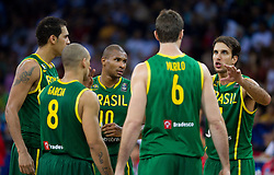 Leandro Barbosa of Brasil (10), Marcelo Machado of Brasil during the Preliminary Round - Group B basketball match between National teams of USA and Brasil at 2010 FIBA World Championships on August 30, 2010 at Abdi Ipekci Arena in Istanbul, Turkey. (Photo By Vid Ponikvar / Sportida.com)