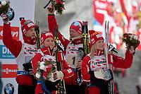 Skiskyting<br /> IBU World Championship<br /> VM 2016 Oslo<br /> Mix-stafett<br /> Foto: Gepa/Digitalsport<br /> NORWAY ONLY<br /> <br /> OSLO,NORWAY,03.MAR.16 - BIATHLON - IBU World Championships, relay 2x6km ladies and 2x7.5km men, mixed team, award ceremony. Image shows Tarjei Bø, Tiril Eckhoff, Johannes Thingnes Bø and Marte Olsbu (NOR).