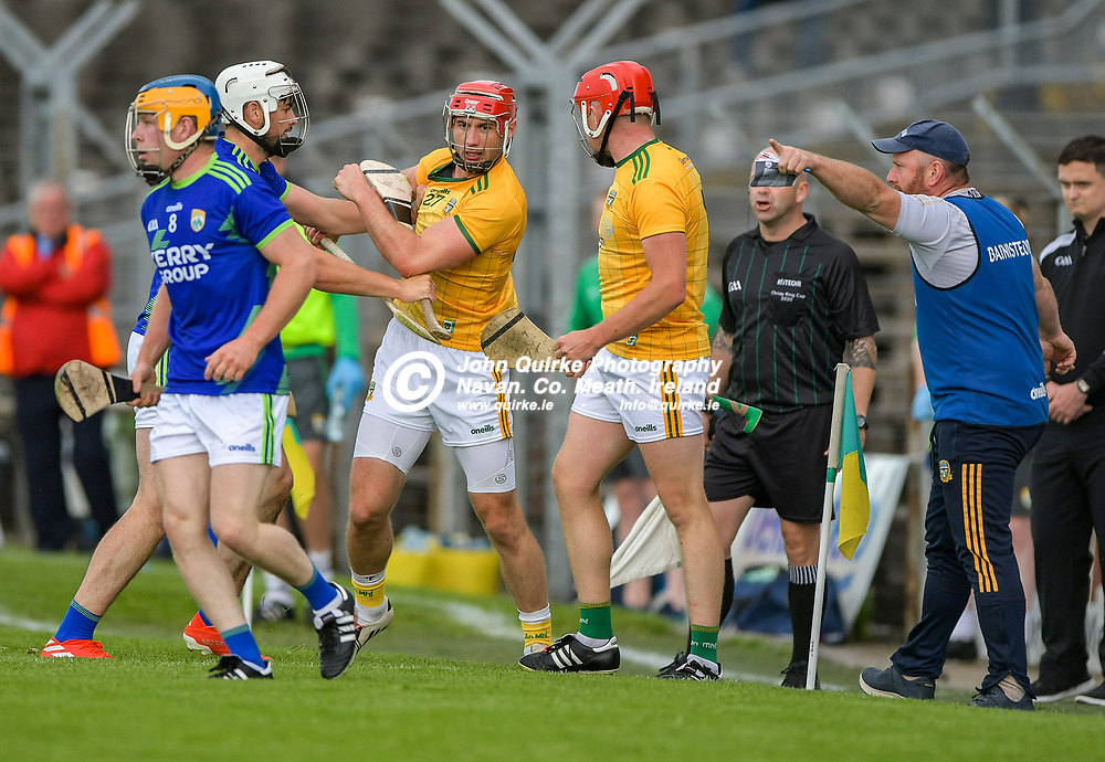 Meath hurling manager Nick Weir, tells his players to concentrate on the game,  during the Meath v Kerry,  Joe McDonagh Cup match at Pairc Tailteann, Navan.<br /> <br /> Photo: GERRY SHANAHAN-WWW.QUIRKE.IE<br /> <br /> 10-07-2021
