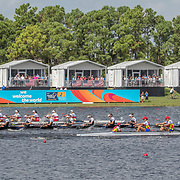 Emma Dyke, Lucy Spoors, Rebecca Scown, Kelsi Walters, Kelsey Bevan, Georgia Perry, Ashlee Rowe, Ruby Tew and coxswain Sam Bosworth New Zealand Womens Eight<br /> <br /> Finals races at the World Championships, Sarasota, Florida, USA Sunday 1st October 2017. Copyright photo © Steve McArthur / Rowing NZ