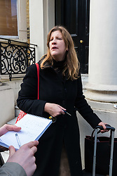 Neighbour Jennifer Crago, 40, speaks to reporters after a fire in a flat on the first floor of a converted house claims the life of a man and his dog in Holland Park, West London. February 07 2018.