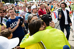 Winner Primoz Roglic of Team Lotto NL Jumbo and his mother after the 5th Time Trial Stage of 25th Tour de Slovenie 2018 cycling race between Trebnje and Novo mesto (25,5 km), on June 17, 2018 in  Slovenia. Photo by Vid Ponikvar / Sportida