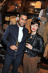 JAG HUNJAN and OLIVIA BELLAS at a reception hosted by Ralph Lauren Double RL and Dexter Fletcher before a private screening of Wild Bill benefitting FilmAid held at RRL 16 Mount Street, London on 26th March 2012.