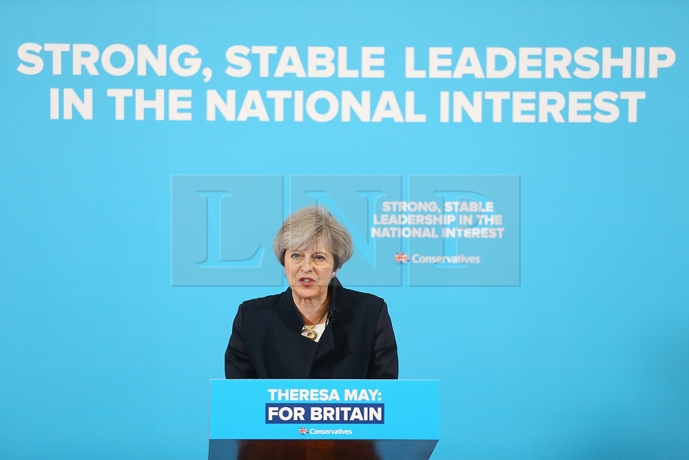 © Licensed to London News Pictures. 12/05/2017.  North Shields UK. Prime Minister Theresa May speaking during a visit to the Linskill Centre in North Shields today on the General Election campaign trail. Photo credit: Andrew McCaren/LNP