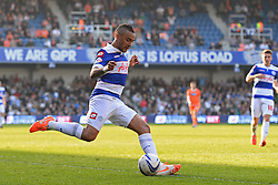 QPR's defender Danny Simpson crosses the ball - Photo mandatory by-line: Mitchell Gunn/JMP - Tel: Mobile: 07966 386802 29/03/2014 - SPORT - FOOTBALL - Loftus Road - London - Queens Park Rangers v Blackpool - Championship