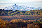 snow capped mountains of the Pyrenees seen from France Aude Razes